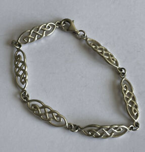 Vintage 925 Silver Macintosh Style Celtic Panel Bracelet 6.5 Inch 6.7 Gram