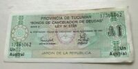 1991 Argentina Tucuman 1 One Austral - World Banknote Currency