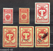 Tirol 1919 / local edition  -  Mi I to VI *  ( Packet control brands )