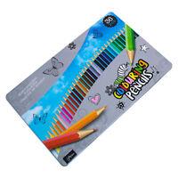 Tin of 36 Colouring Colour Pencils Metal Storage Case School Art Childrens Set