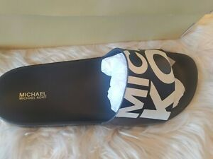 Women MK Michael Kors Gilmore Slide Slip On Sandals Faux Nappa Black/White SZ 10
