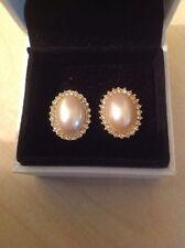 Screw Back (pierced) Pearl Oval Costume Earrings