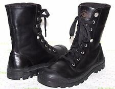 ✿PALLADIUM Black Genuine Leather Fold Over Combat Lace-Up Boot 8.5 W 7 M L@@K!24