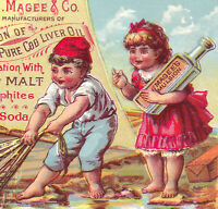 Neemah WI 1800's Magees Emulsion Cod Liver Oil Bottle Fish Victorian Trade Card