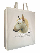 Bull Terrier (c) Cotton Shopping Bag with Gusset and Long Handles Perfect Gift