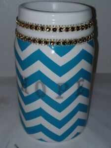 Chevron Turquoise Blue & White Hope Decorated Mason Jar 5in by 3in Vase