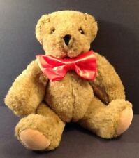 Vermont Teddy Bear Jointed Red Bow Tie Brown Tan 11""