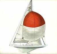1958 Americas Cup Columbia Twelve-meter Sloop Melbourne Smith Lithograph Antique