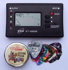 ELECTRIC, ACOUSTIC or BASS - GUITAR TUNER + 12 Picks *t