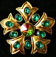 Fleur de Lis petals flower gold tone Green rhinestones made in USA BROOCH