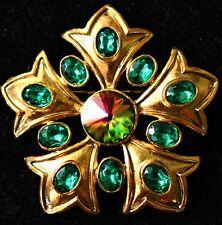 Fleur de Lis petals flower gold tone Green rhinestones made in USA BROOCH