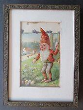 Framed 1908 METALLIC GNOME HIDING EASTER EGGS ~ Postcard w/1¢ Ben Franklin Stamp
