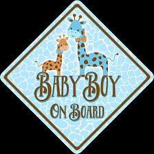 Non Personalised Baby Boy On Board Car Sign Shabby Chic Giraffes, Boutique, Cute