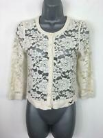 WOMENS HOLLISTER CREAM LACE BUTTON UP  CARDIGAN JUMPER XS XSMALL