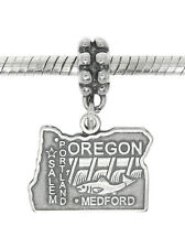 STERLING SILVER TRAVEL STATE MAP OF OREGON DANGLE EUROPEAN BEAD CHARM
