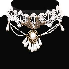 Gothic Pearl White Lace Chain Pendant Chocker collar Bronze Necklace Victorian