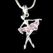 Pink BALLERINA made with Swarovski Crystal The Nutcracker Ballet Dancer Necklace