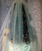 """Brides 90"""" White chapel length wedding veil scattered with Swarovski Crystals 1T"""