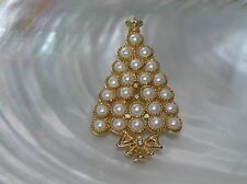 Estate Goldtone with Faux White Mabe Pearl & Clear Rhinestone Accents Christmas