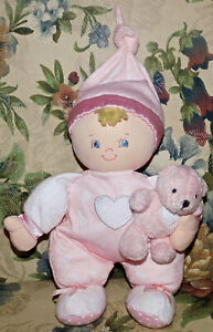 "Gund Baby Ashley Plush Lovey 58217 Pink Blond Hair Doll Stuffed Toy with Bear 9"""