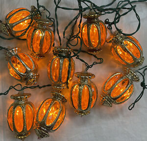 Vintage Italian Christmas Lights 10 Gold Lanterns 1950s 60s - Italy