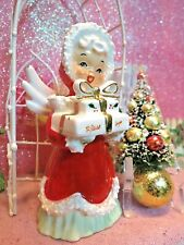 Vtg Napco Christmas Blessings Angel Gold Ribbon Presents Wreath ~ Frosted Tree