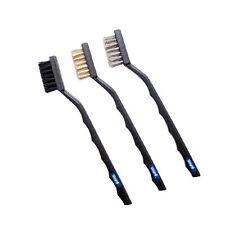MINI WIRE BRUSH SET 3 PCS BRASS NYLON & STAINLESS STEEL BRISTLE JEWELRY CLEANING