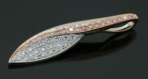 18K 2-tone Rose/White gold .50CTW VS1/F White/Pink diamond cluster pendant