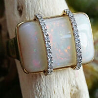 Opal Diamant Ring 9 ct 0.18 ct 750er Gold  TRAUMTÄNZER IM SCHNEE  SW 3.810.-Euro