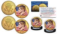 Colorized FLOWING FLAG 2018 JFK 2-Coin Set 24K GOLD Plated - Both P & D Mint Set