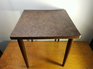 Vintage Wood Small Side Table Stand Screw Legs Retro Ornate Coffee Bedside Stand