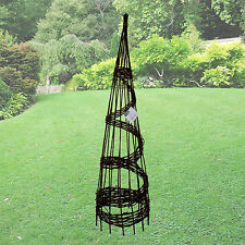 Charmant 1.5M WILLOW OBELISK CLIMBING PLANT SUPPORT NATURAL WOVEN SPIRAL TWIST 5FT  TALL