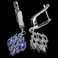 Earrings Blue Tanzanite Genuine Natural Gems Cluster Design Sterling Silver