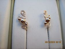 Pair Rose Gold Ear Vines Climbers Ear Pins  003