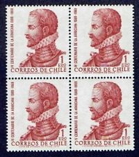 CHILE 1972 STAMP # 806 MNH BLOCK OF FOUR LITERATURE WRITER ALONSO DE ERCILLA