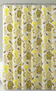 Gold Yellow Gray  Floral Design PEVA Shower Curtain Liner Odorless ECO Friendly