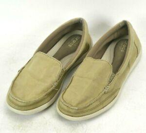 Crocs Walu II Canvas Loafers Shoes Womens Size 8 M US Tan Brown 202489