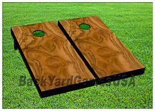 Cornhole Light Brown Pattern Boards BEANBAG TOSS GAME w Bags Set