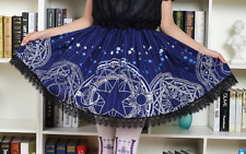 Cosplay Lolita Gothic Princess Skirt in Deep Blue with Magic Circles Prints