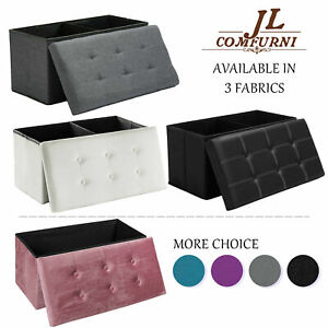 Large Folding Ottoman Storage Footstool Seat Stool Bench Couch Footrest