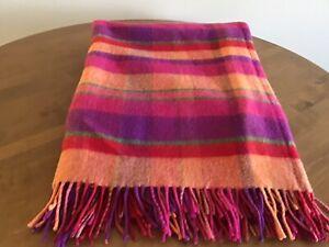 "Avoca Handweavers Ireland 100% New Wool Multicolor-Plaid Throw 56""x74"" HTF"