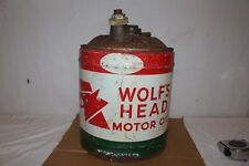 Large Vintage Wolf's Head Motor Oil 5 Gallon Metal Can Gas Station Sign