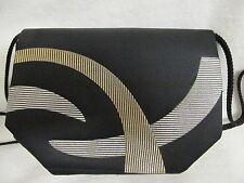 Vtg.La Regale Black Cross Over Shoulder Bag-Art Deco:Shiny EMBOSSED Gold/Silver