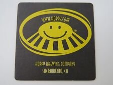 Beer Bar Coaster ~*~ HOPPY Brewing Company, Sacramento, CALIFORNIA ~ Opened 1999