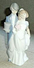 Vintage Porcelain Figurine Wedding Bells Bride and Groom Lladro 6164 Signed 511f