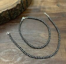 Indian 925 Fine Silver Black Beaded Charm Anklets