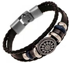 GIFTS FOR MEN Braided Black PU Leather Mens Bangle Fashion Wristband Bracelet