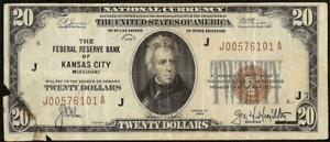 1929 $20 DOLLAR BROWN SEAL FED BANK NOTE OLD PAPER MONEY NATIONAL CURRENCY