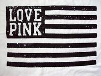 Victorias Secret PINK T Shirt USA Flag Size Large Crop Top Sequin Bling Nwt