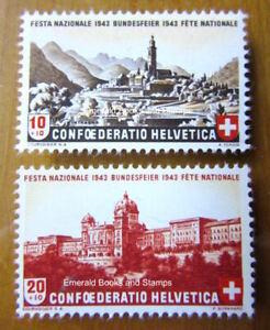 EBS Switzerland 1943 Pro Patria - Intragna - Bundeshaus Bern - Mi. 420-421 MNH**